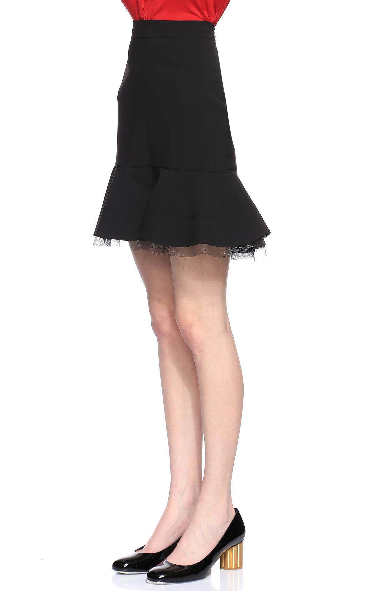 DKNY Tül Detaylu Siyah Mini Etek