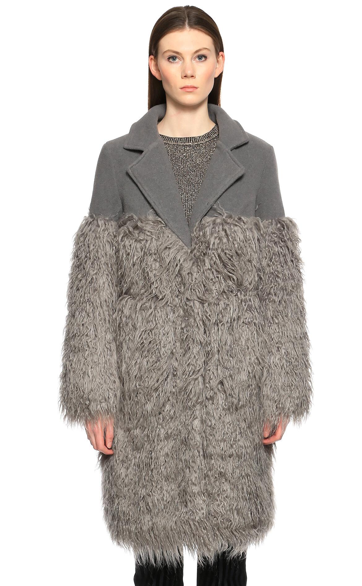 SH-SH Kürk Detaylı Gri Palto