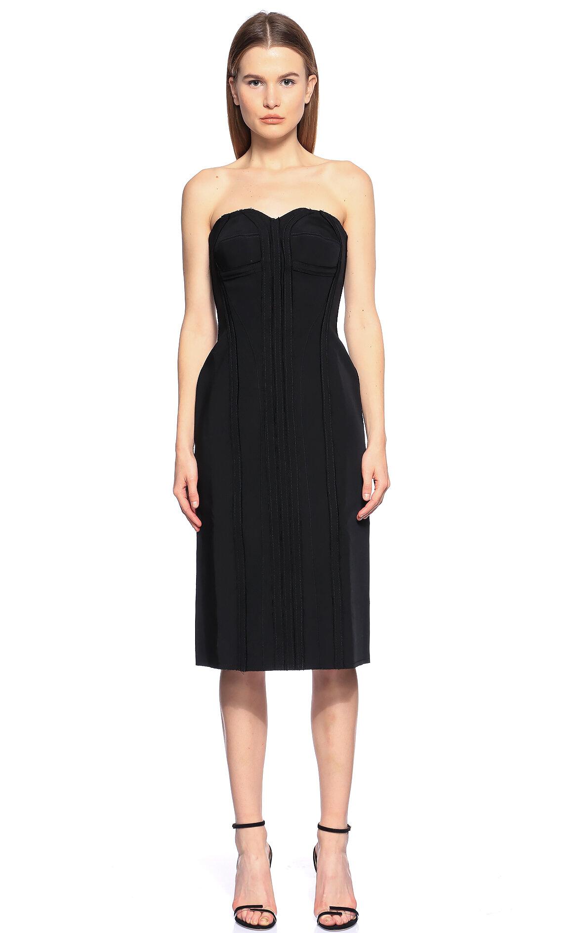 Lanvin-Lanvin Straplez Siyah Elbise