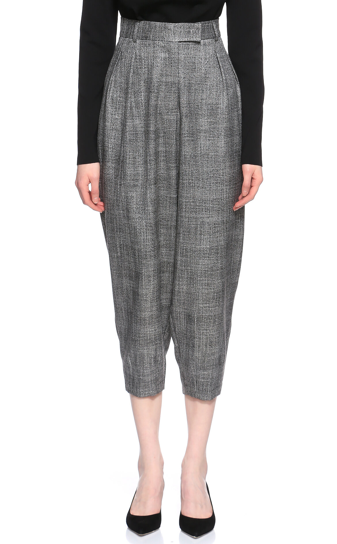 Ceren Can-Ceren Can Kareli Yüksek Belli Gri Pantolon