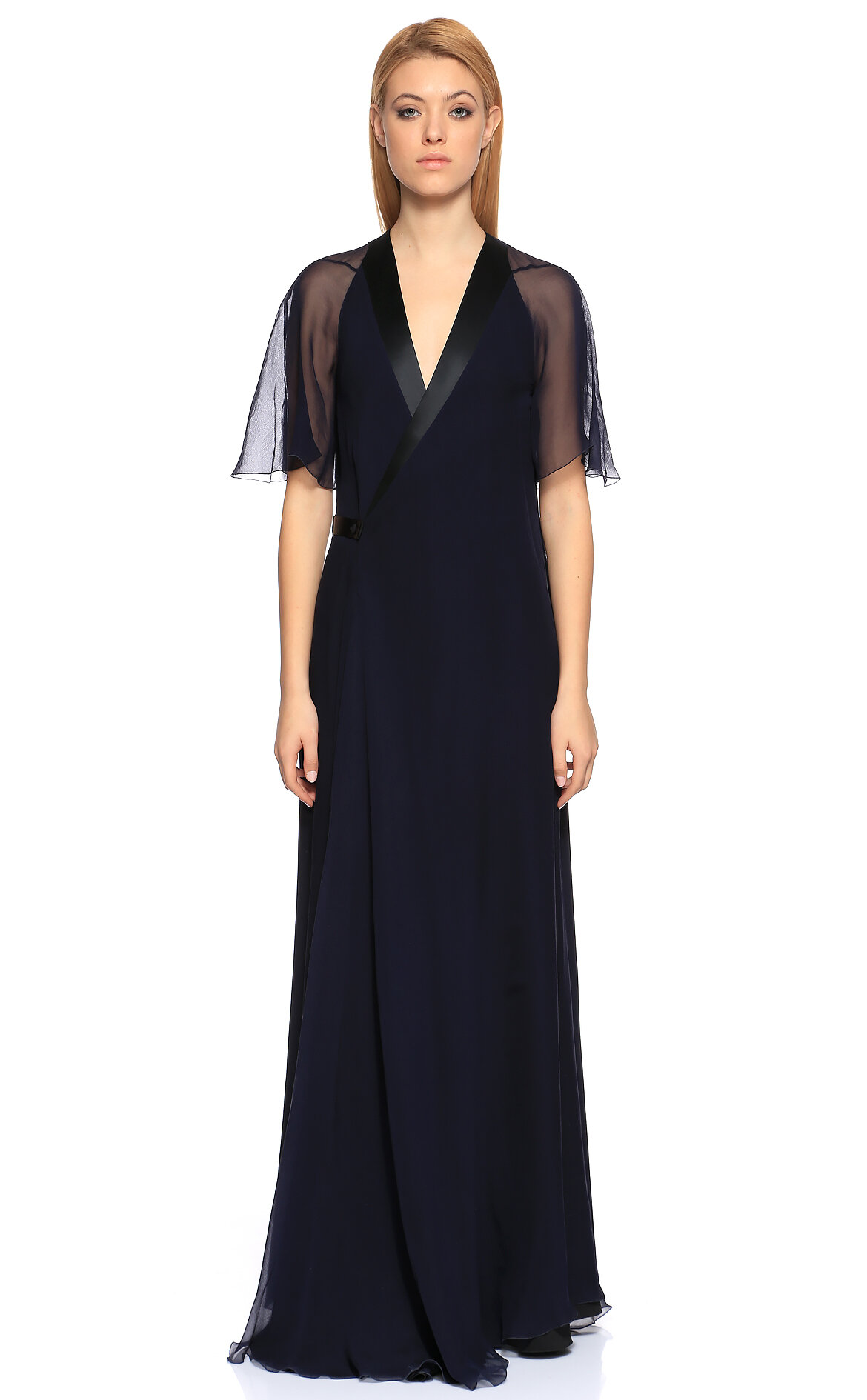 Lanvin-Lanvin V Yaka Uzun Mavi Gece Elbisesi