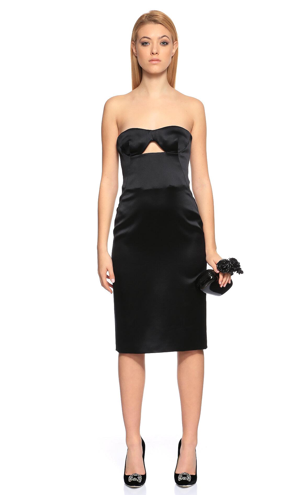 Alexander McQueen-Alexander McQueen Straplez Siyah Elbise
