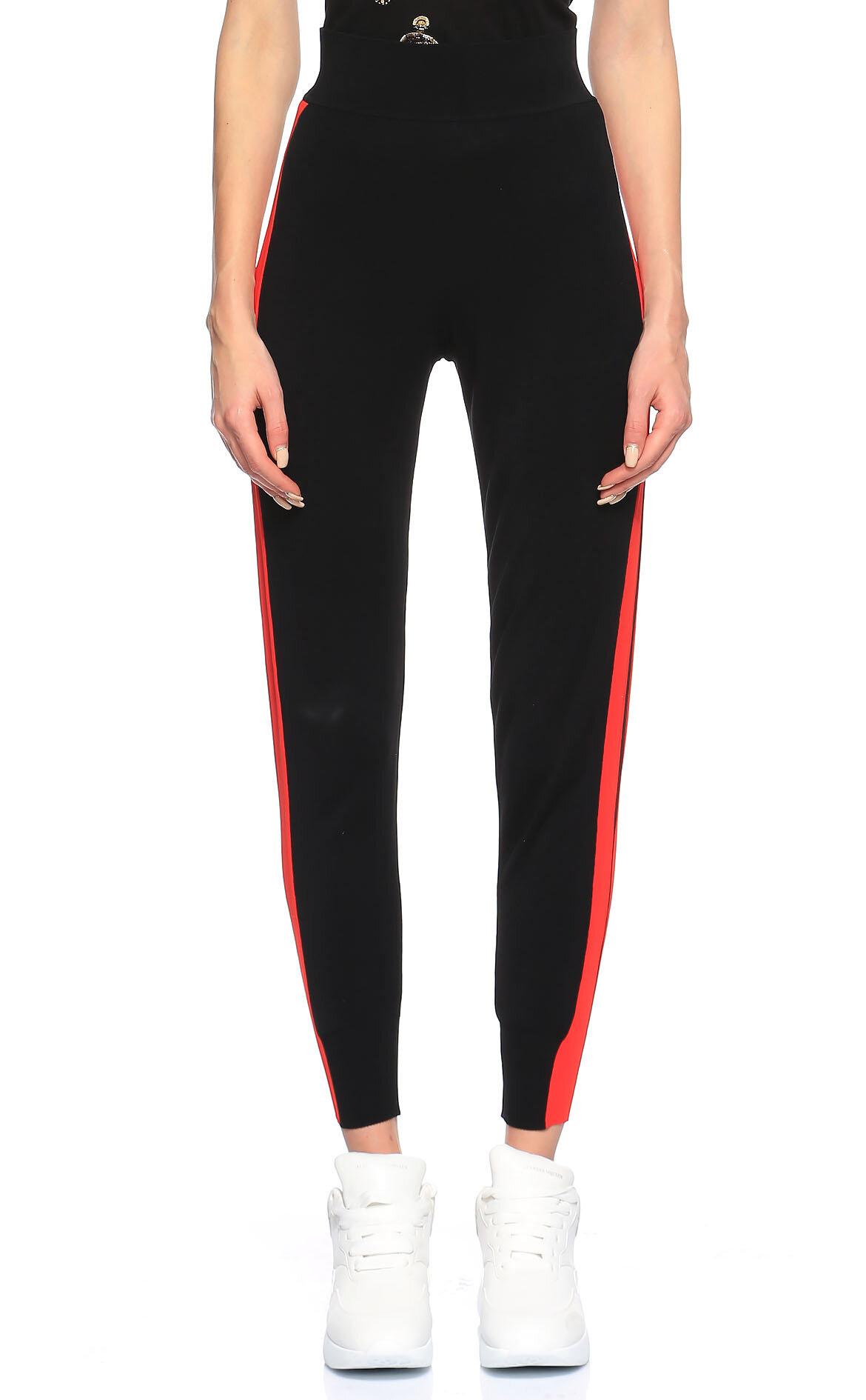 Alexander McQueen-Alexander McQueen Çizgili Siyah-Kırmızı Pantolon