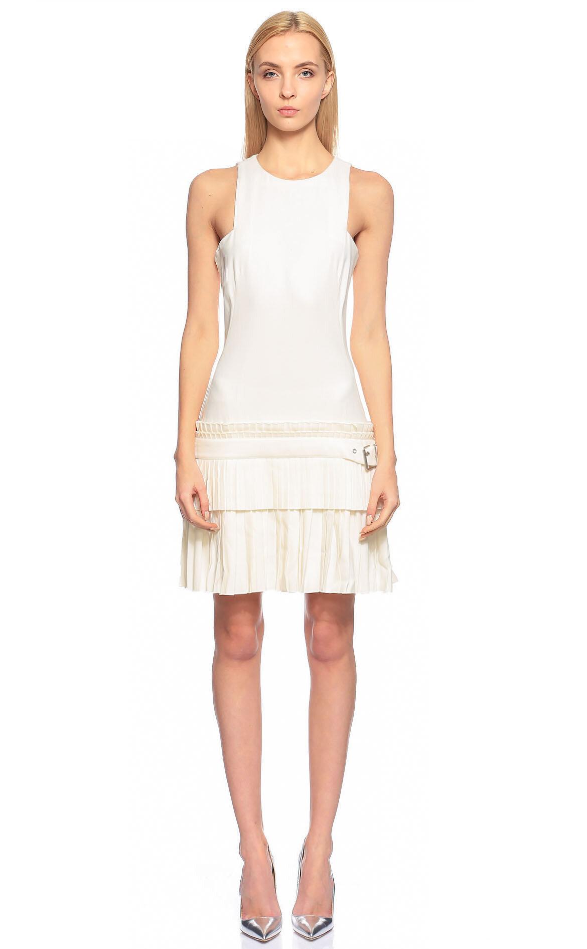 Alexander McQueen-Alexander McQueen Beyaz Mini Elbise