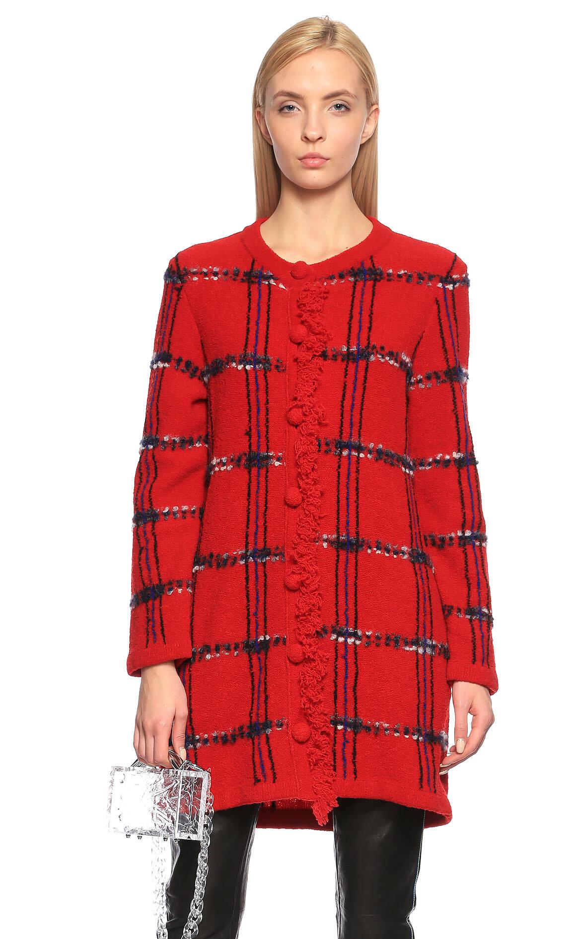 Boutique Moschino Kareli Kırmızı Hırka