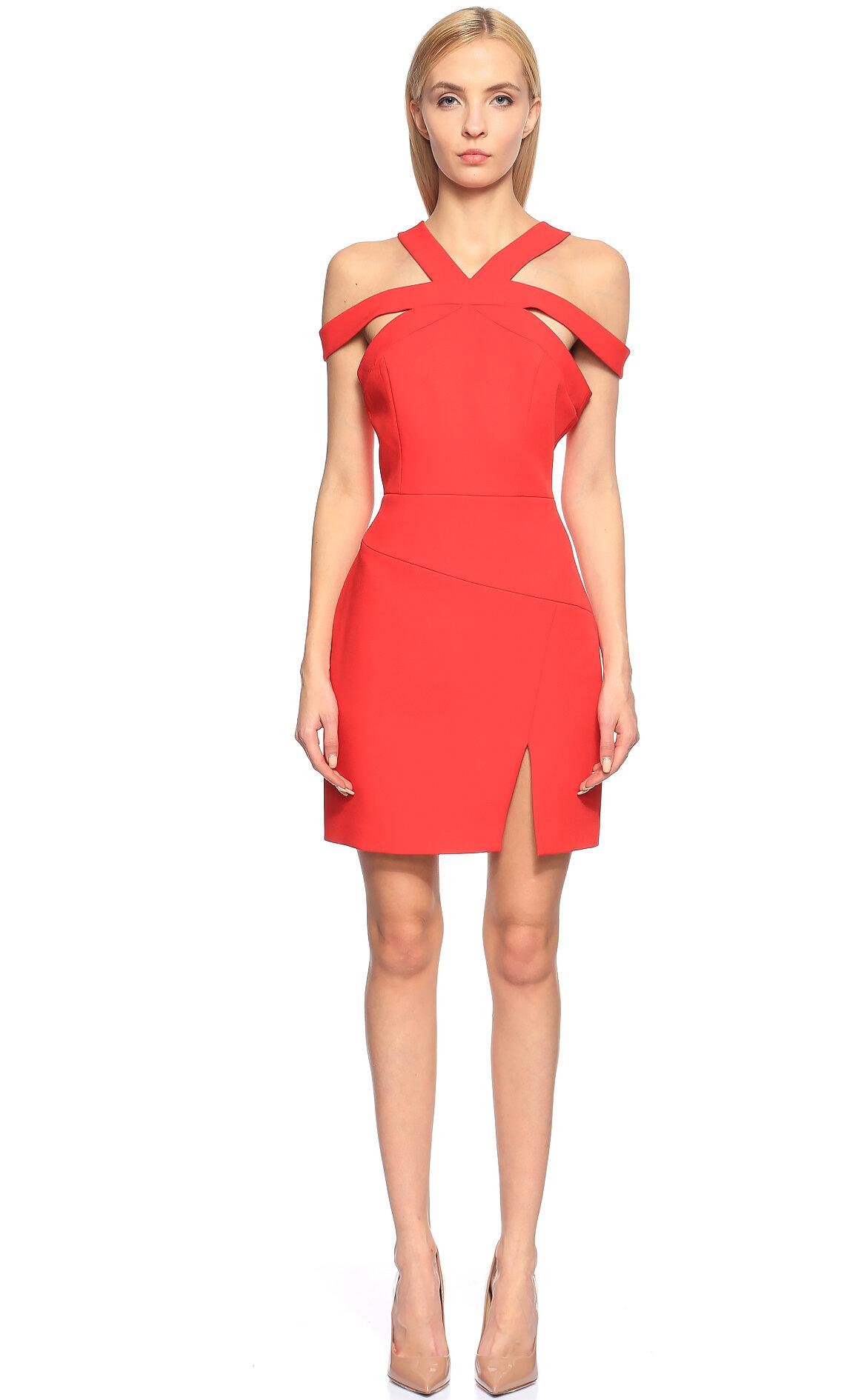 BCBG MAX AZRIA-BCBG MAX AZRIA Kırmızı Mini Elbise