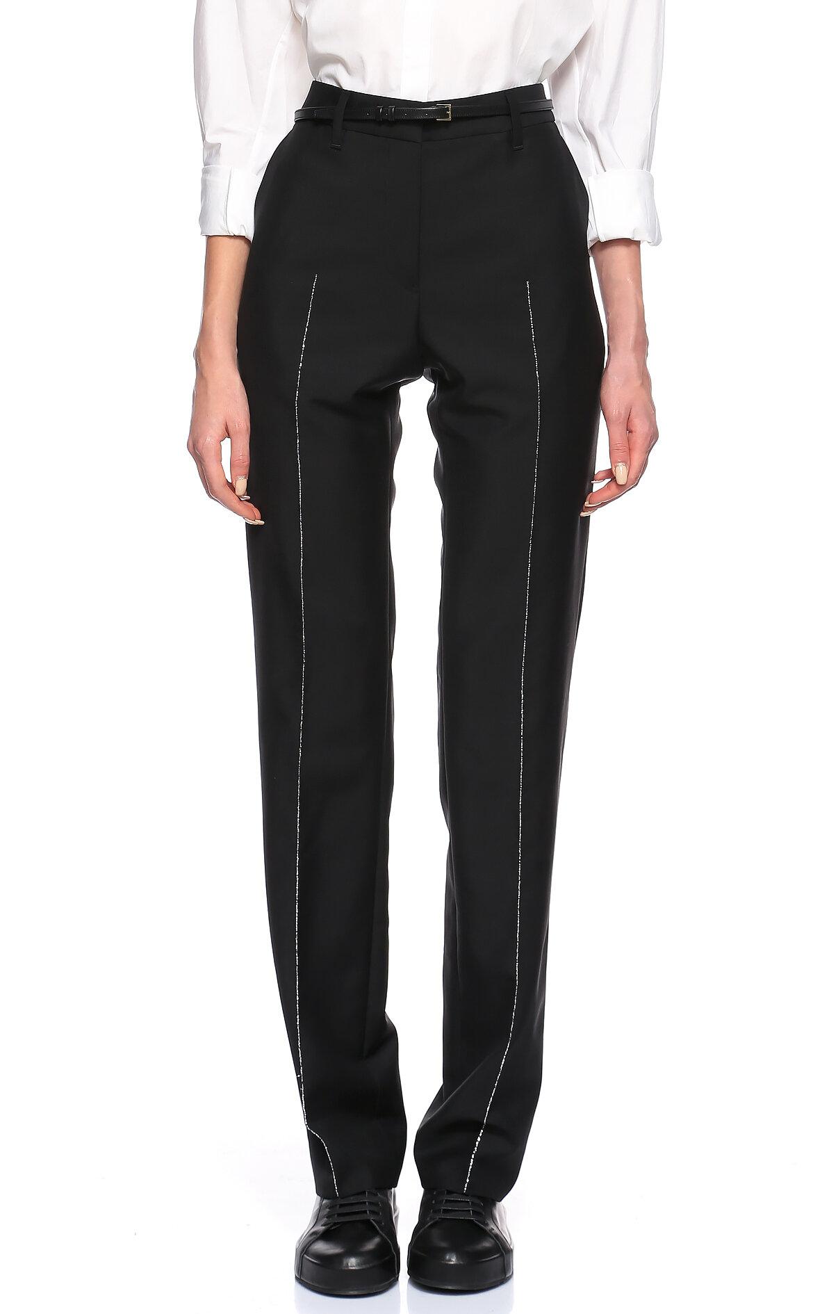 Jil Sander Sim Detaylı Siyah Pantolon
