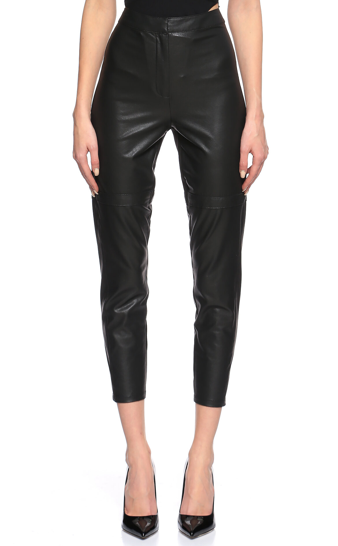BCBG MAX AZRIA-BCBG MAX AZRIA Deri Detaylı Siyah Pantolon