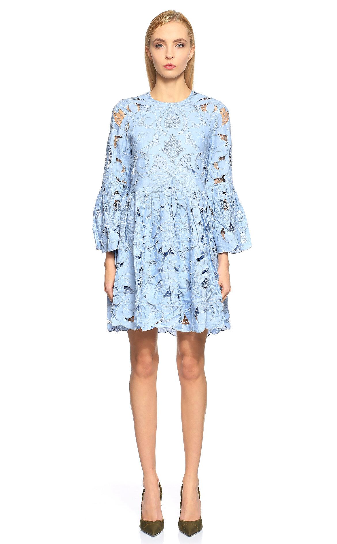 Thurley-Thurley İşleme Detaylı Mini Renkli Elbise