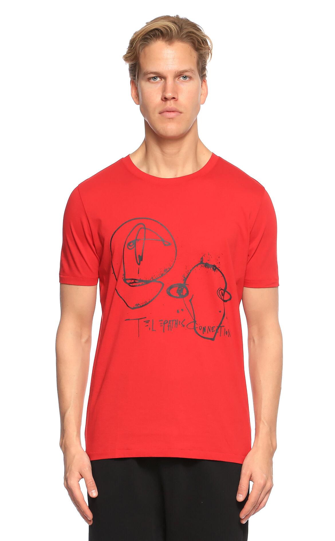 Hugo Boss Hugo Baskı Desen Kırmızı T-Shirt