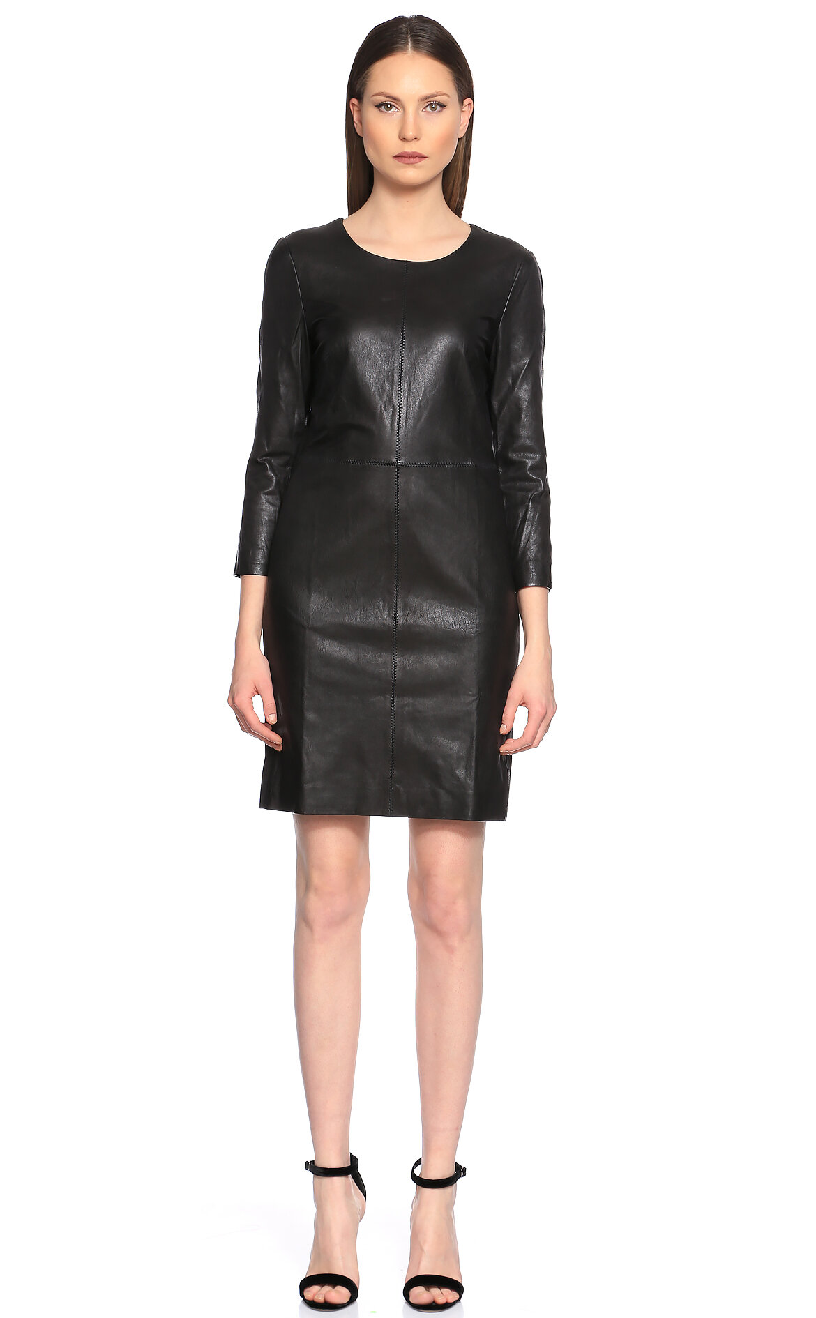 DKNY Deri Detaylı Siyah Elbise