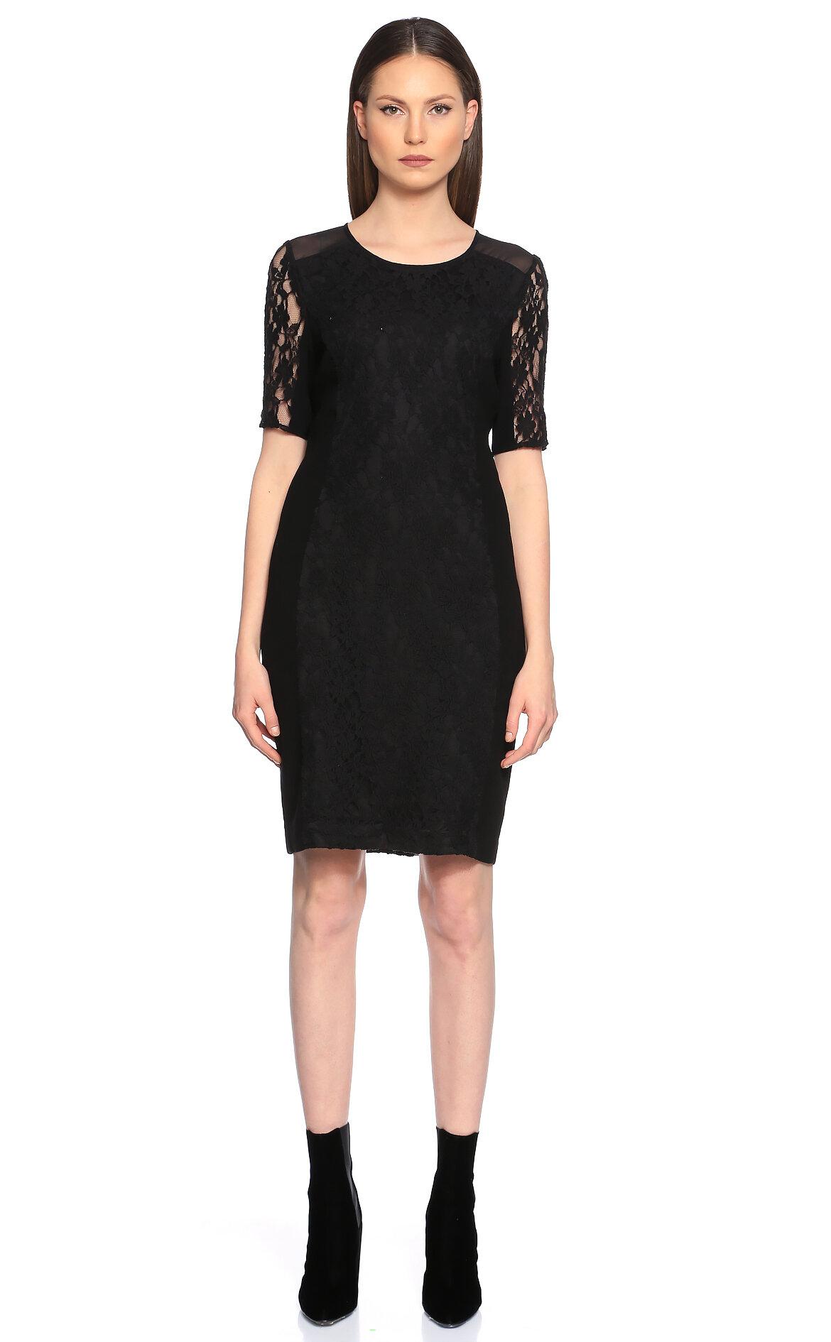 DKNY Dantel Detaylı Siyah Elbise