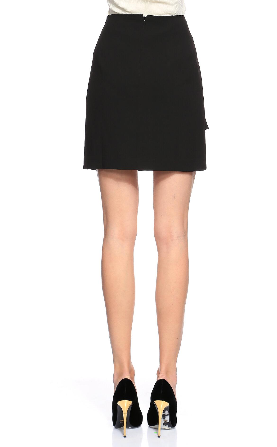 DKNY Fırfır Detaylı Siyah Mini Etek