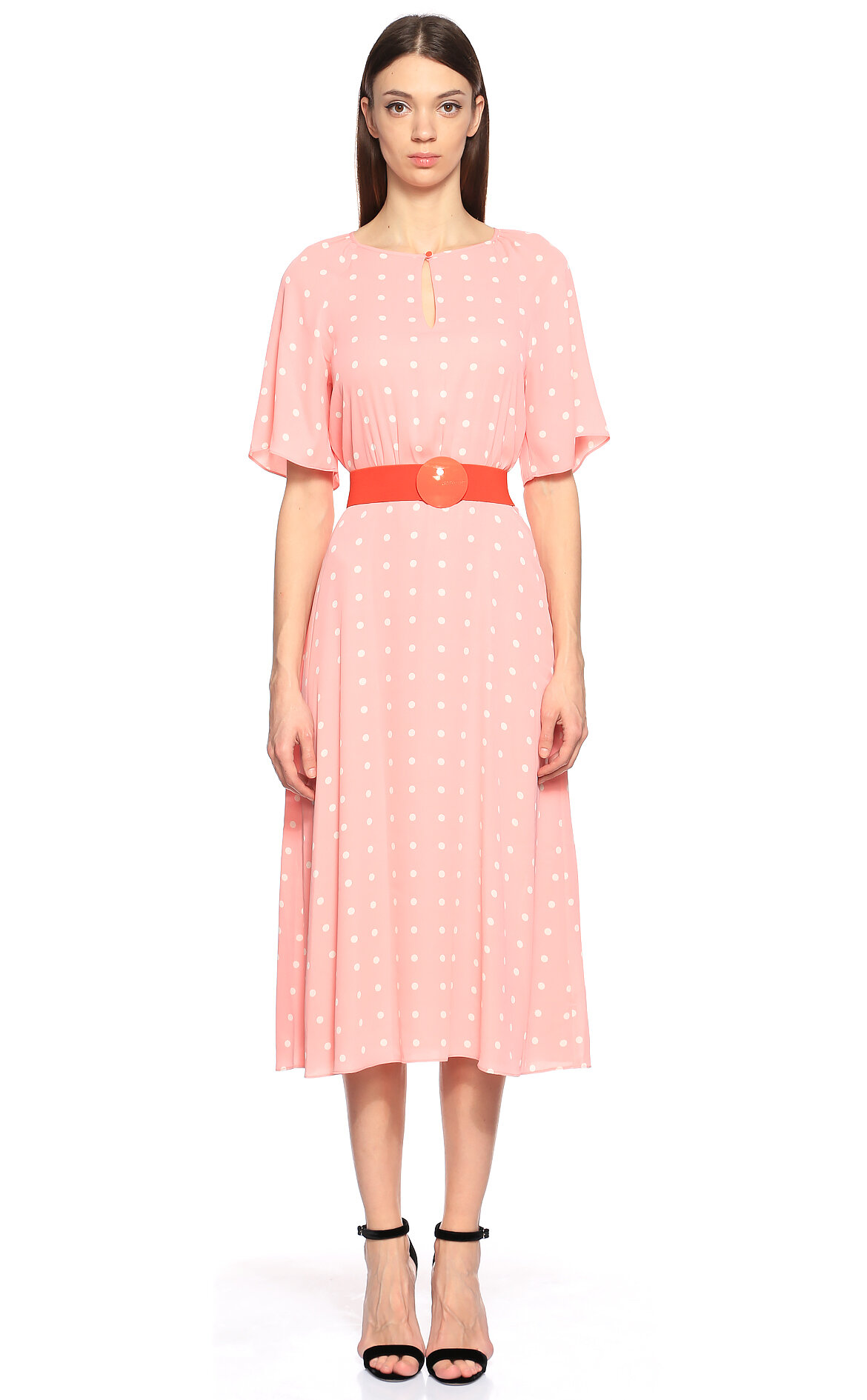 Juicy Couture-Juicy Couture Puantiyeli Pembe Diz Altı Elbise