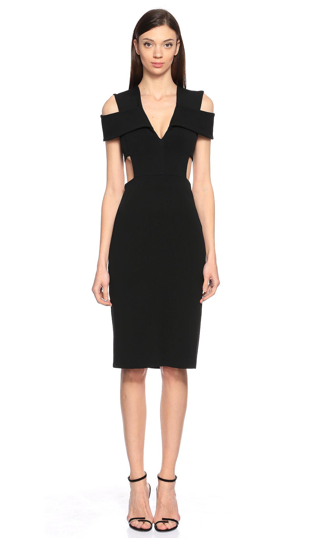 Cushnie et Ochs Dekolteli Siyah Elbise