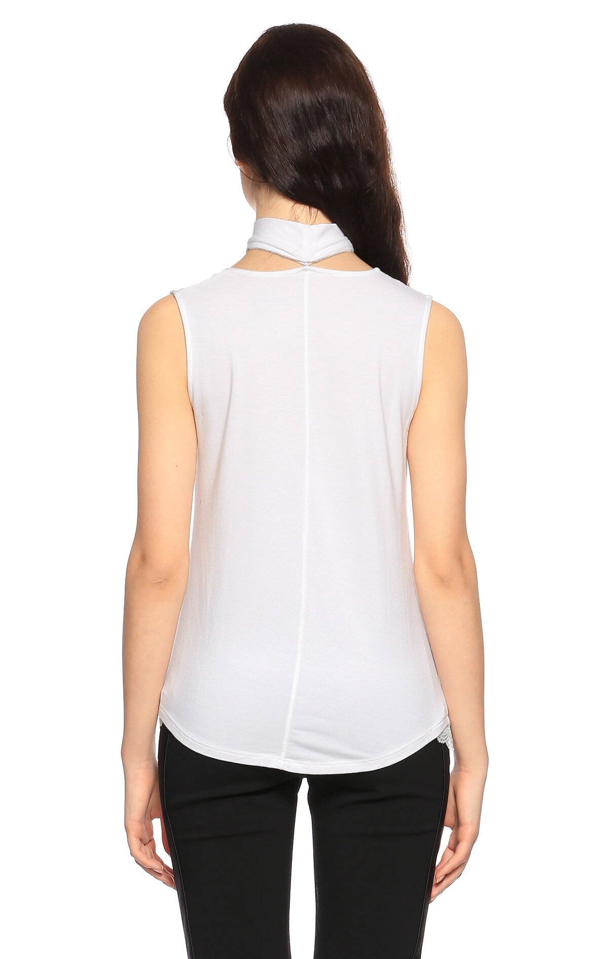 Elie Tahari Şal Yaka Kolsuz Beyaz Bluz