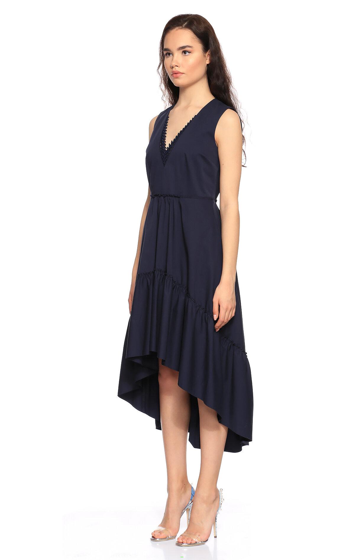Elie Tahari V Yaka Lacivert Elbise