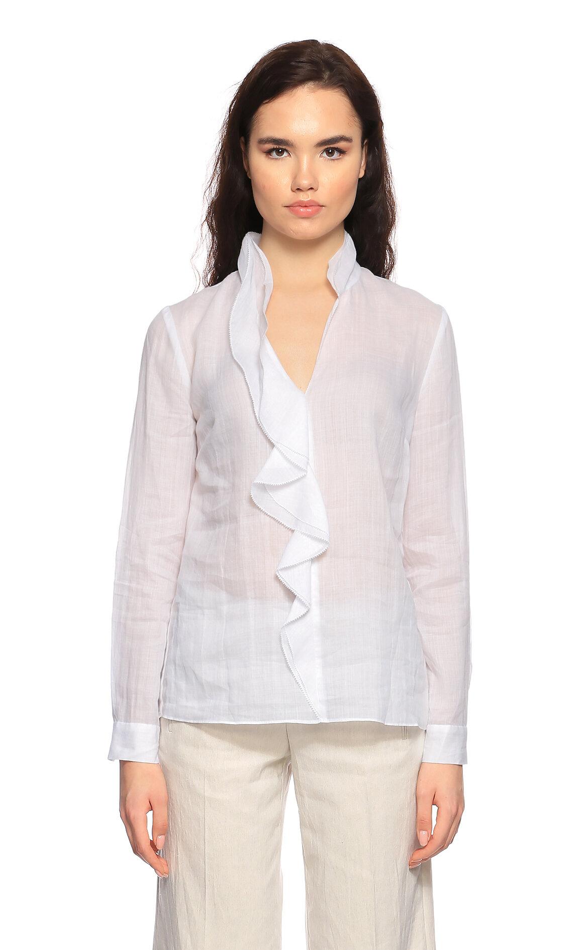 Elie Tahari-Elie Tahari V Yaka Beyaz Bluz
