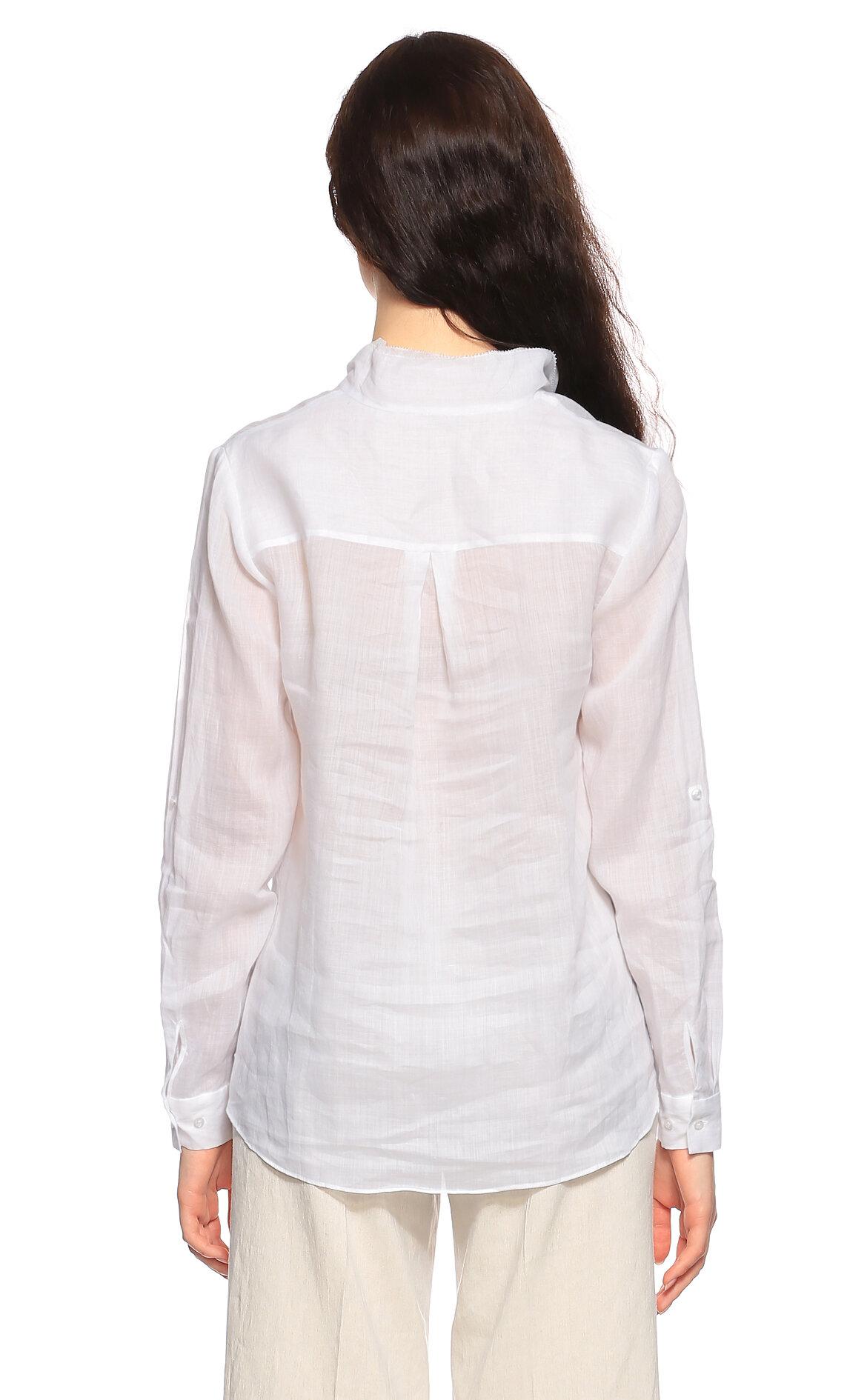 Elie Tahari V Yaka Beyaz Bluz