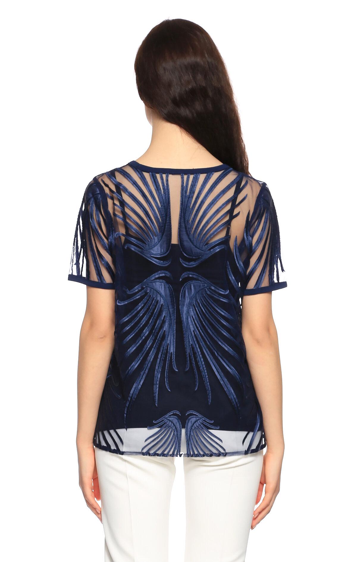 Elie Tahari İşleme Detaylı Lacivert Bluz