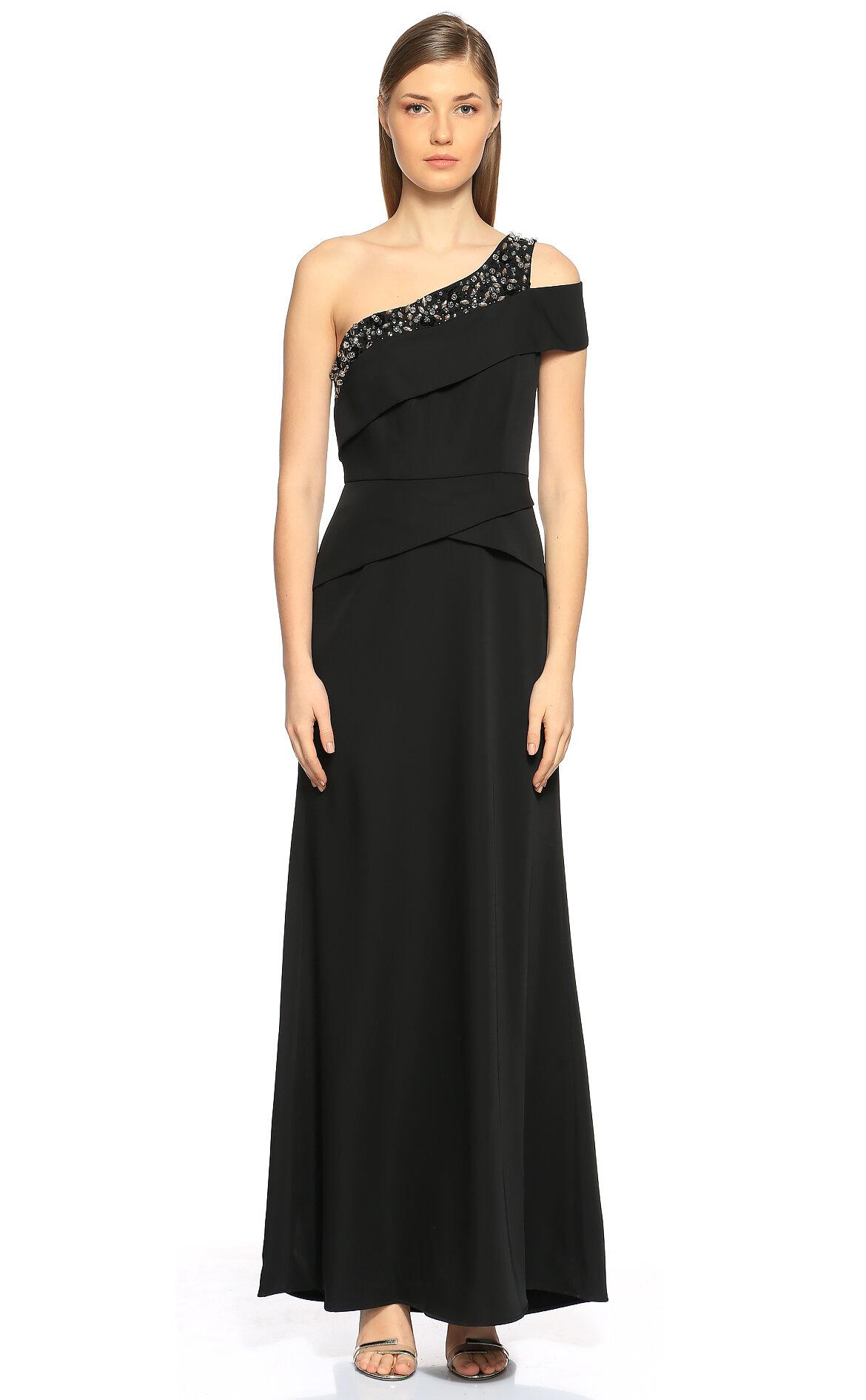 BCBG MAX AZRIA-BCBG MAX AZRIA İşlemeli Tek Kollu Siyah Gece Elbisesi