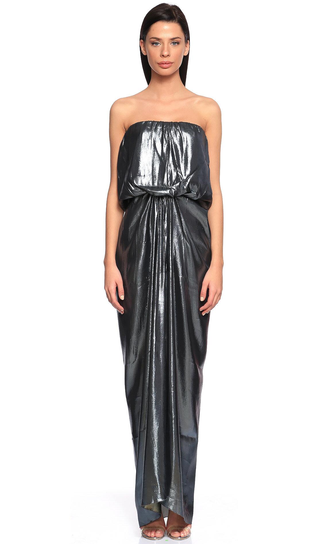 Lanvin-Lanvin Parıltılı Straplez Uzun Renkli Elbise