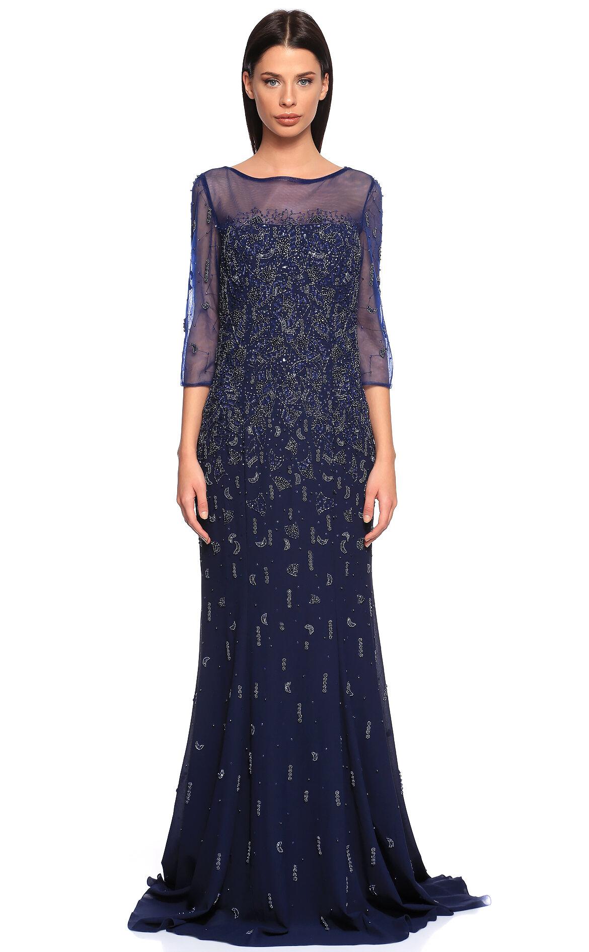 c8121a91e3e07 Jovani Kadın Lacivert Gece Elbisesi JVN41876ANAVY-NAVY - Brandroom