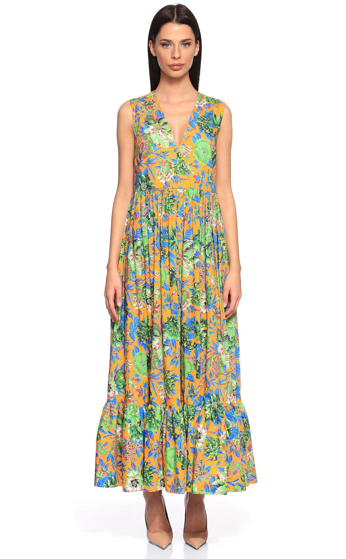 MSGM  Çiçek Desenli Uzun Elbise