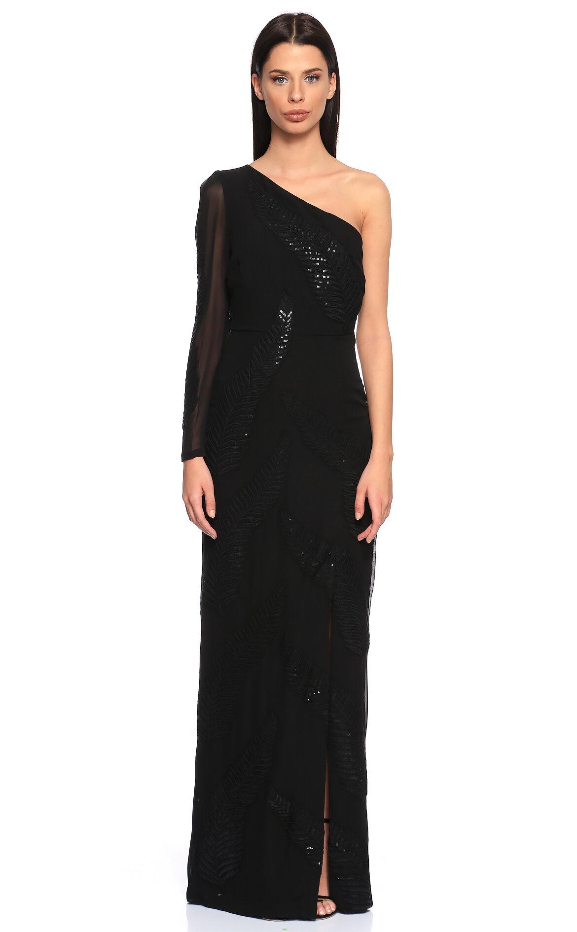 Nicole Miller-Nicole Miller İşleme Detaylı Siyah Uzun Gece Elbisesi
