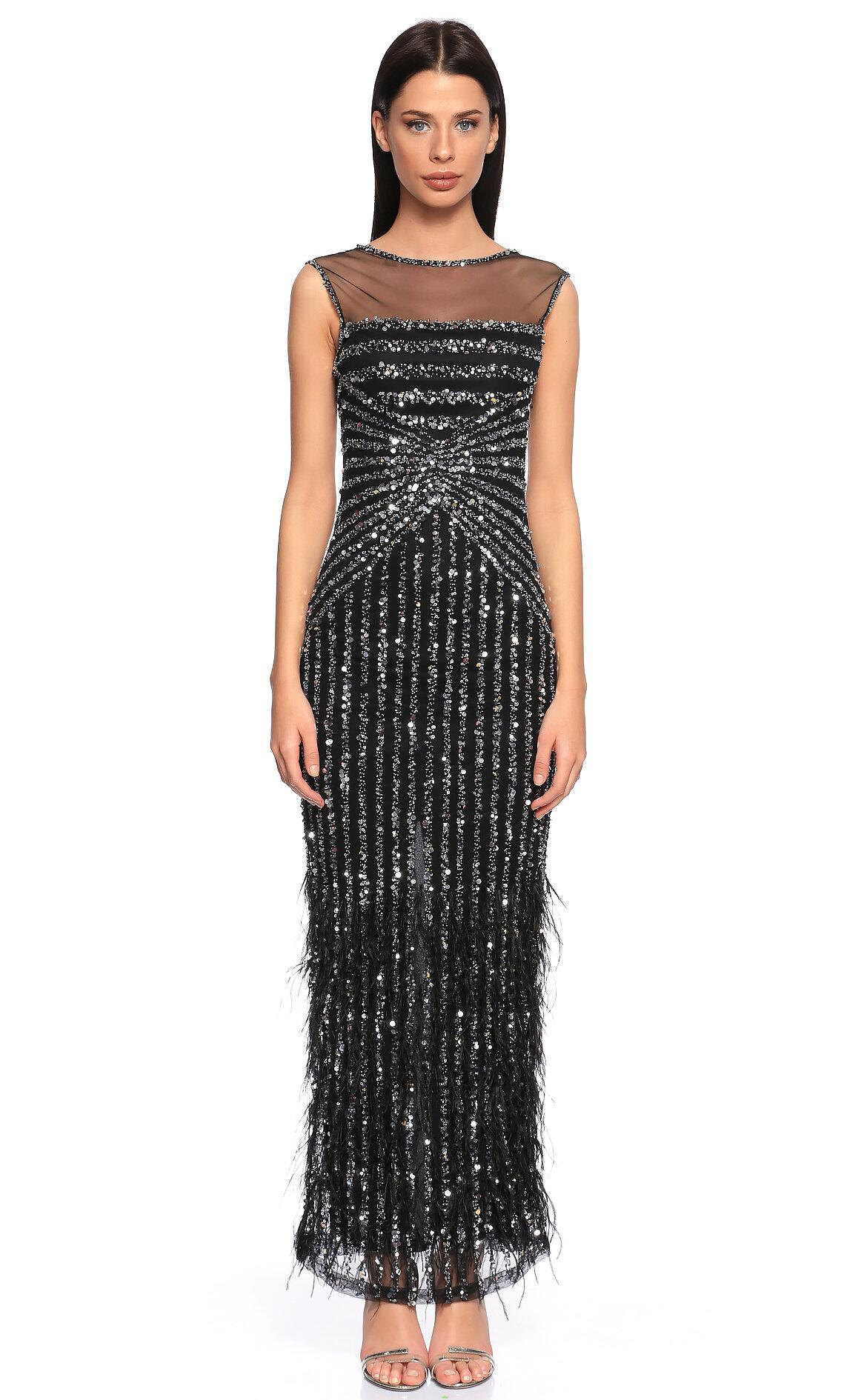 Parker Black-Parker Black İşleme Detaylı Siyah Uzun Gece Elbisesi