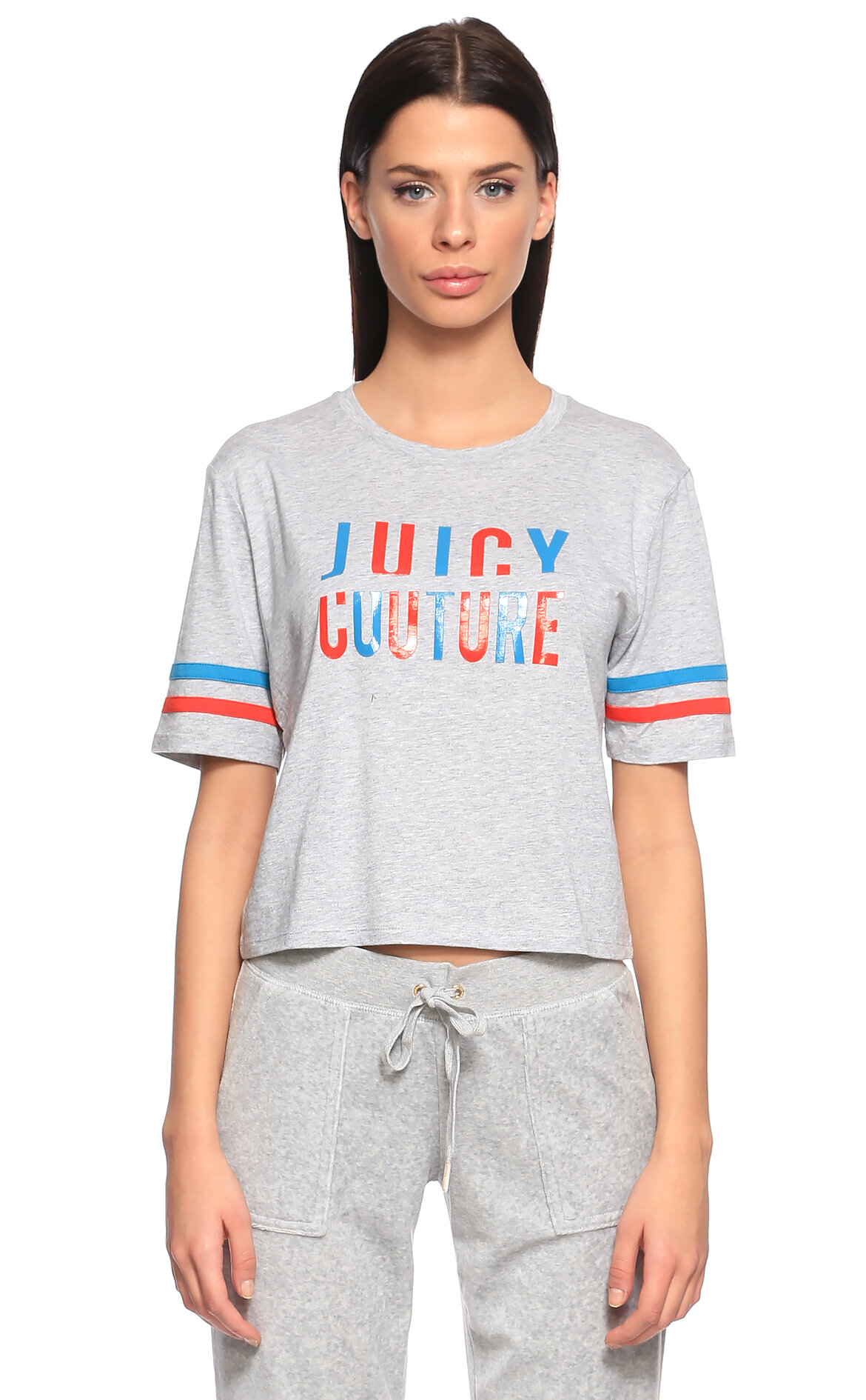 Juicy Couture-Juicy Couture Baskılı Gri T-Shirt