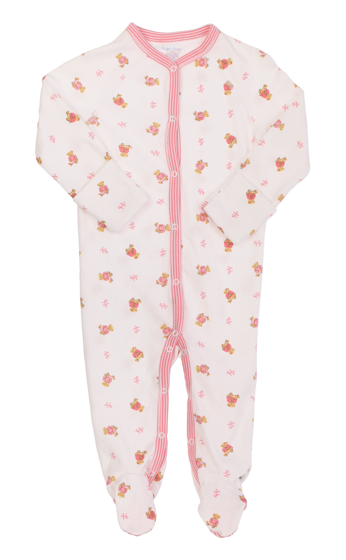 Ralph Lauren Kız Bebek  Ayıcıklı Beyaz-Pembe Tulum