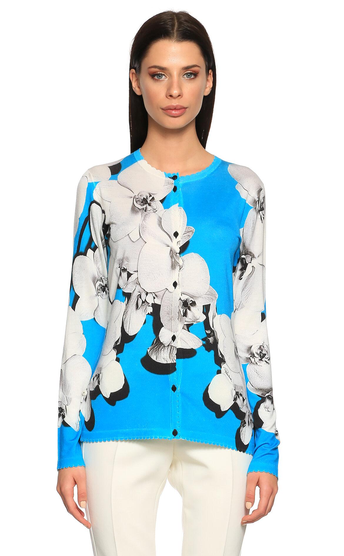 Roberto Cavalli  Çiçek Desenli Mavi Hırka
