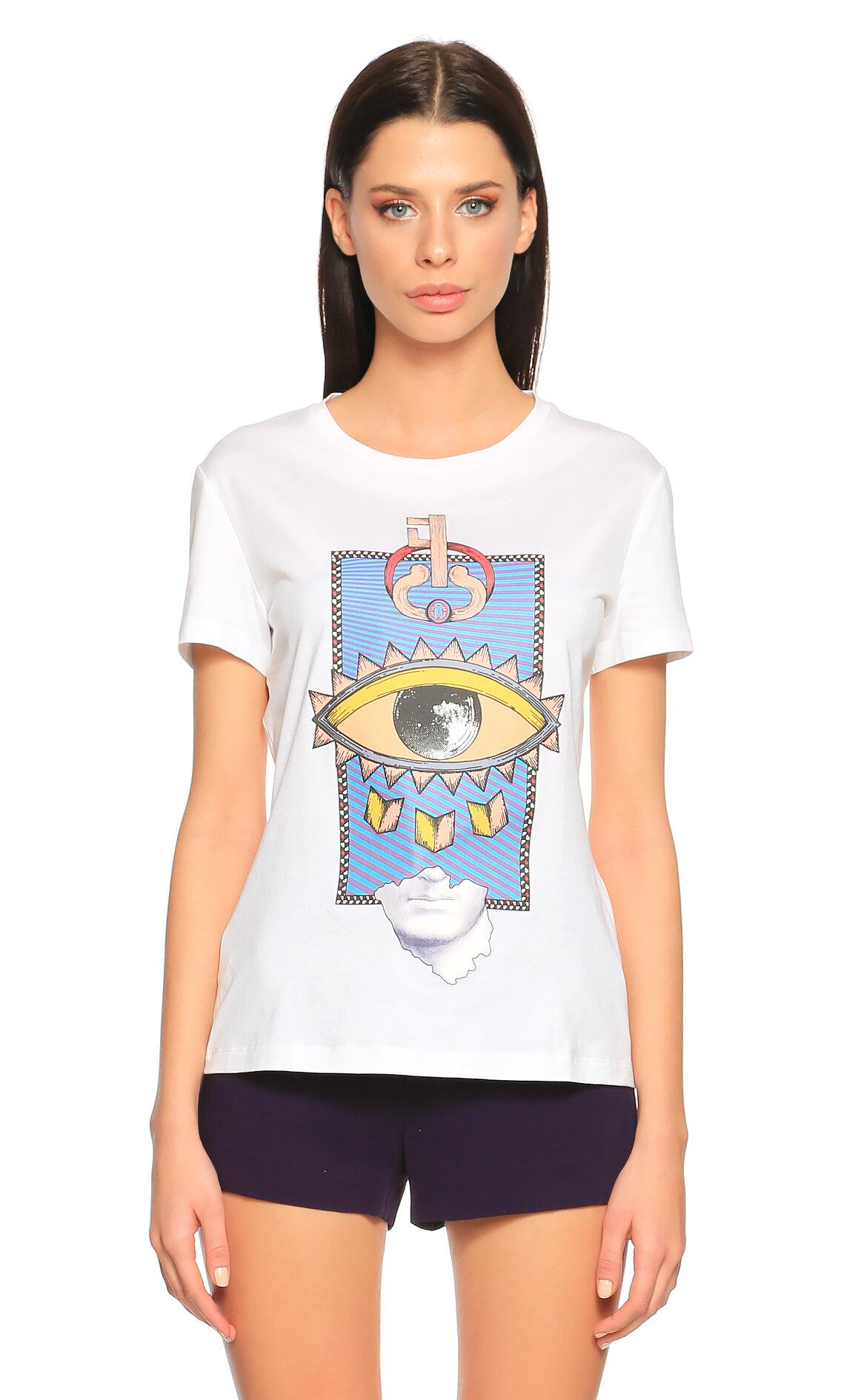Roberto Cavalli-Roberto Cavalli Baskılı Beyaz T-Shirt