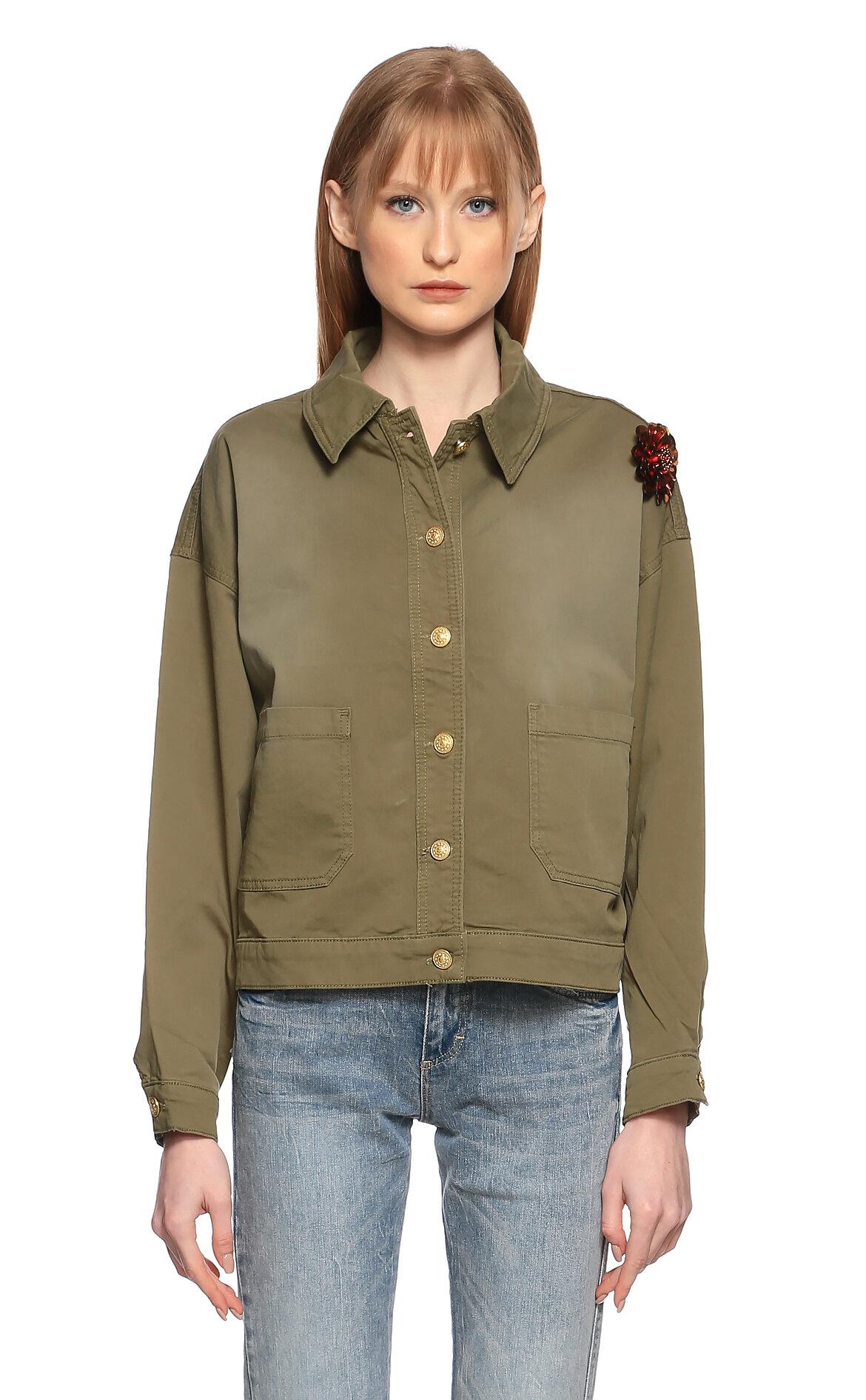 Silvian Heach-Silvian Heach İşleme Detaylı Yeşil Ceket