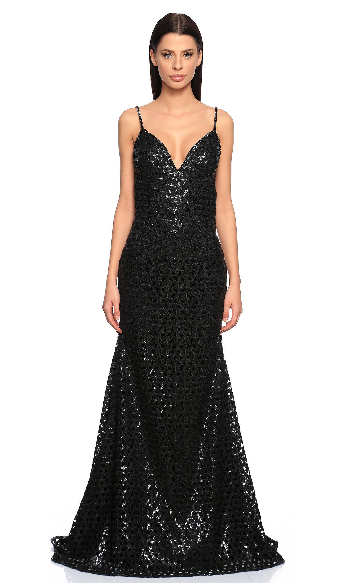 Jovani  İşleme Detaylı Siyah Gece Elbisesi