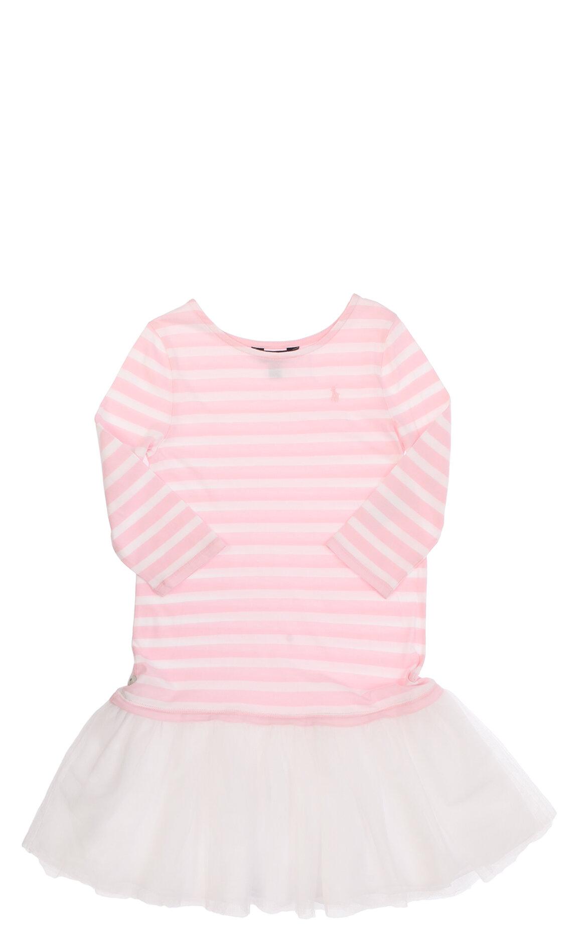Ralph Lauren-PoloÇizgili Tül Detaylı Pembe-Beyaz Kız Çocuk Elbise