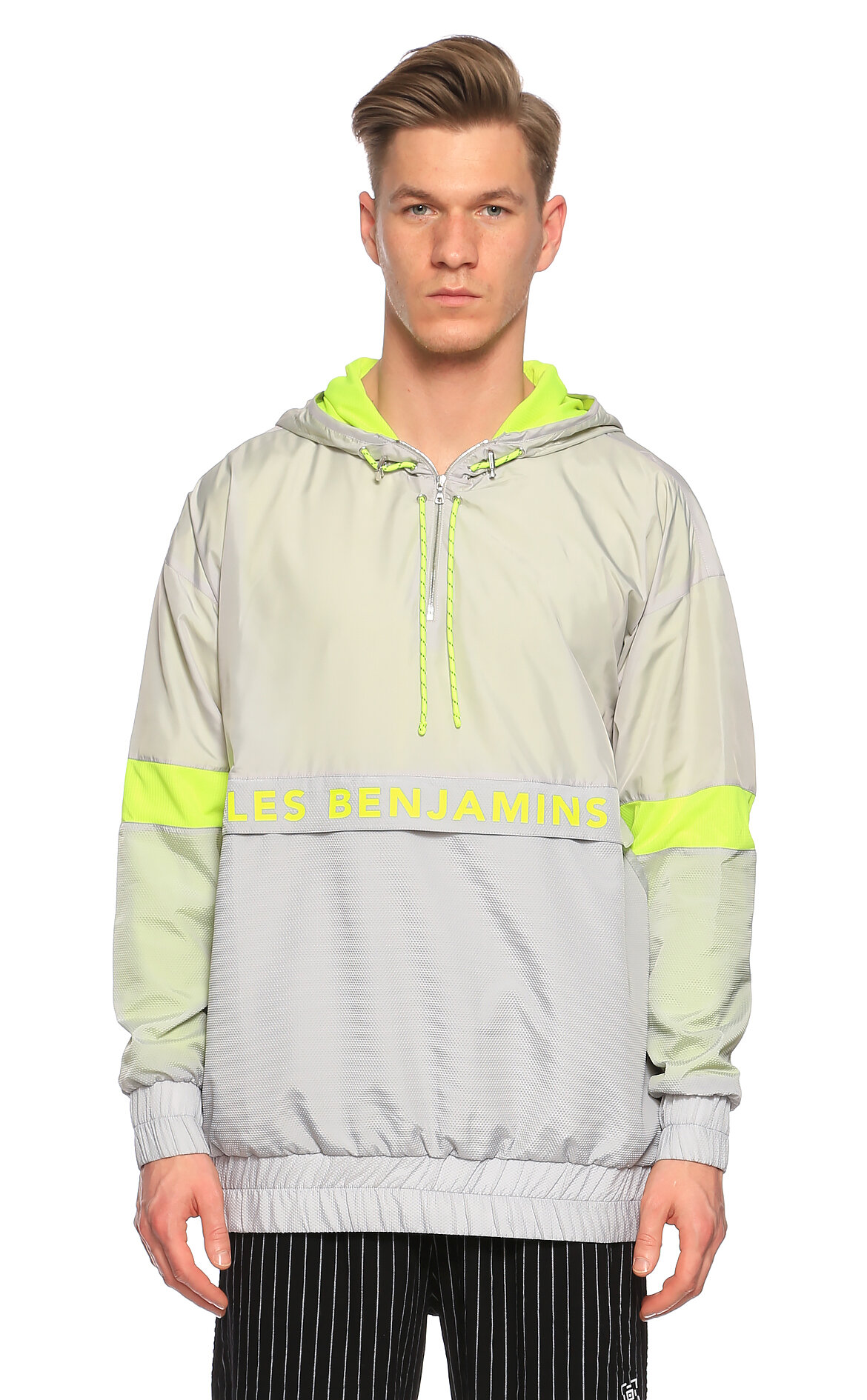 Les Benjamins-Les Benjamins Kapüşonlu Neon Gri-Sarı Sweatshirt