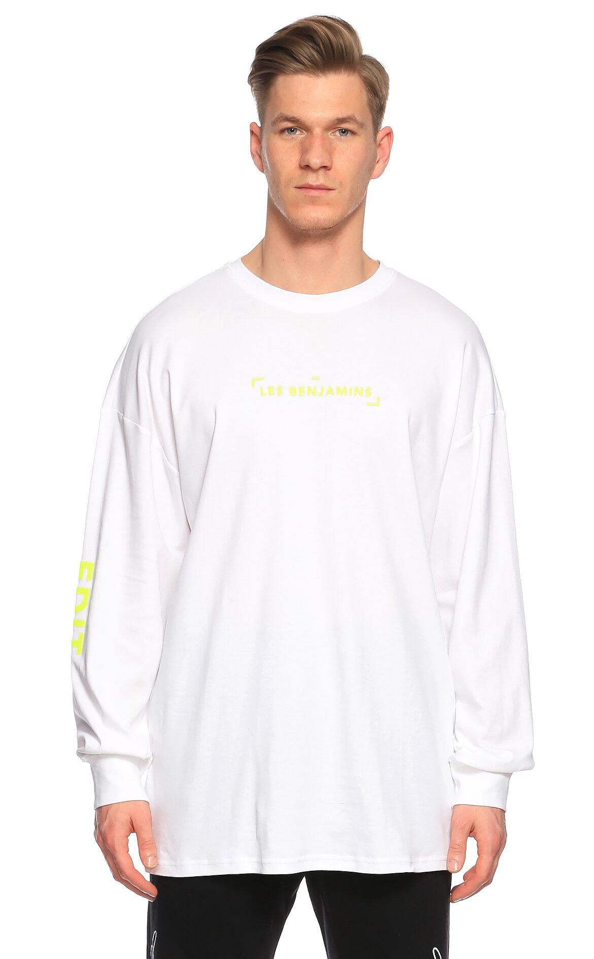 Les Benjamins-Les Benjamins Uzun Kollu Beyaz T-Shirt