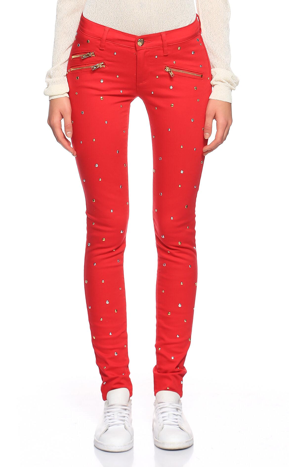 Juicy Couture-Juicy Couture İşleme Detaylı Skinny Kırmızı Jean Pantolon