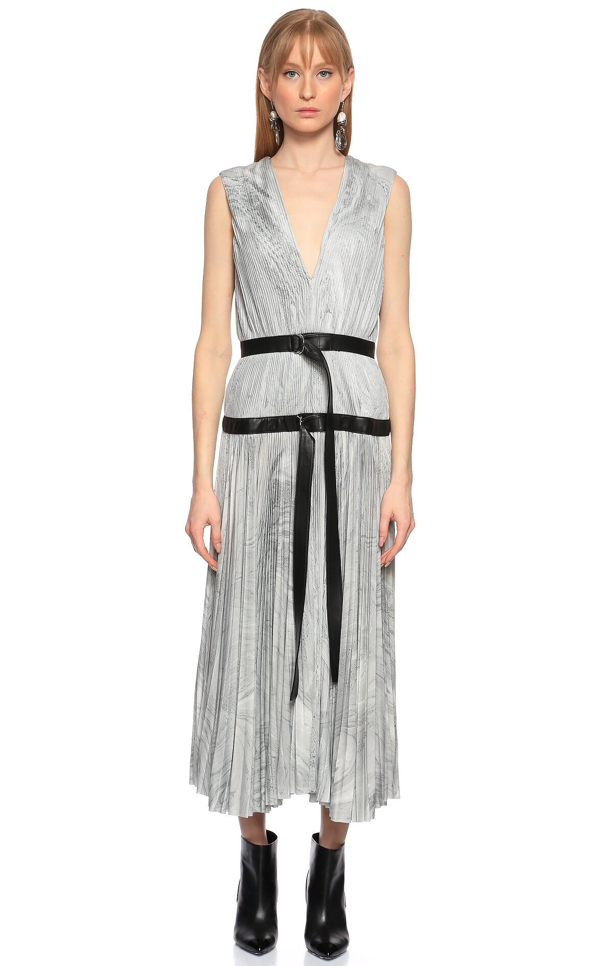 Alexander McQueen-Alexander McQueen Kemer Detaylı Piliseli Gri Midi Elbise