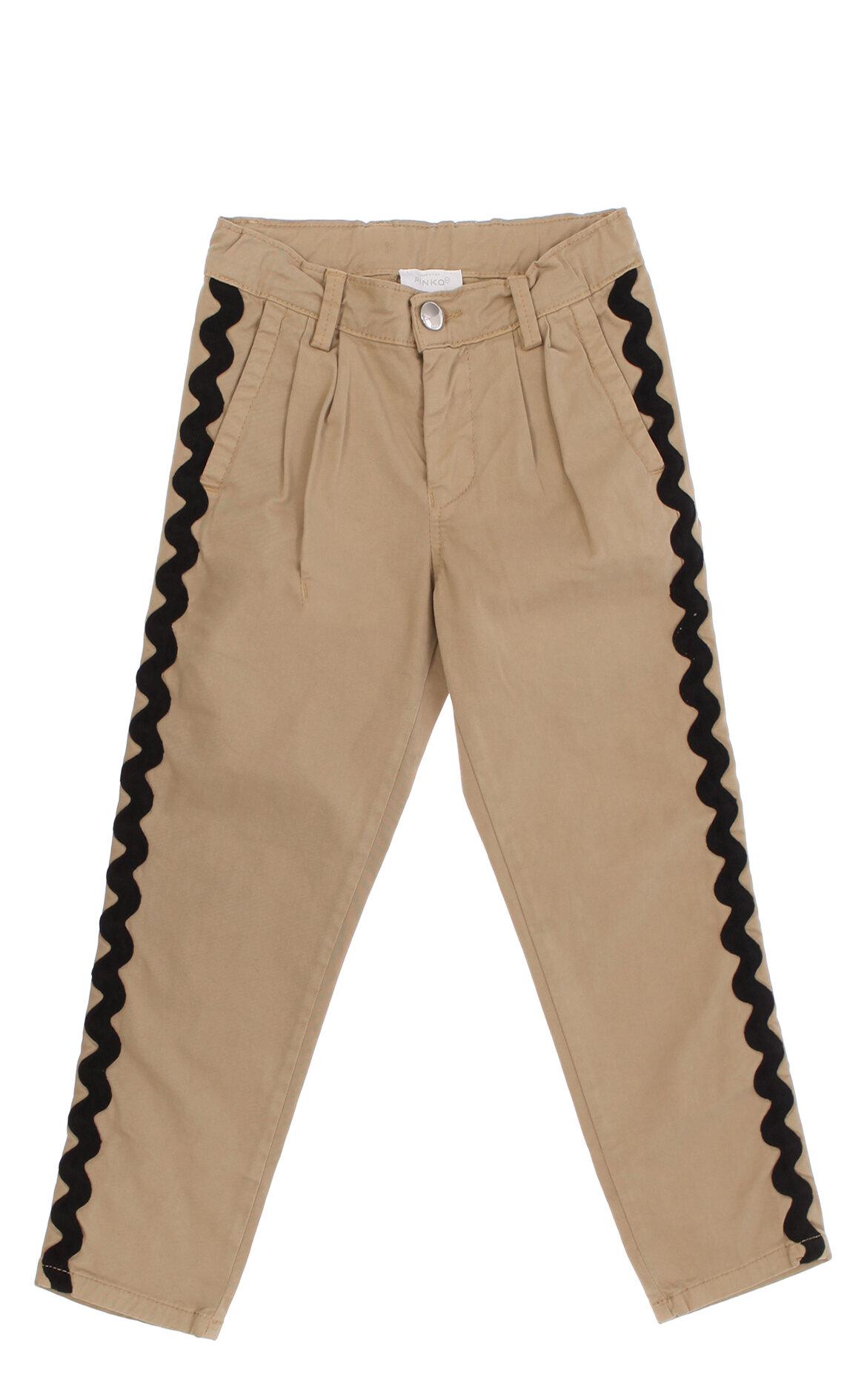 Pinko-Pinko İşlemeli Bej Kız Çocuk Pantolon