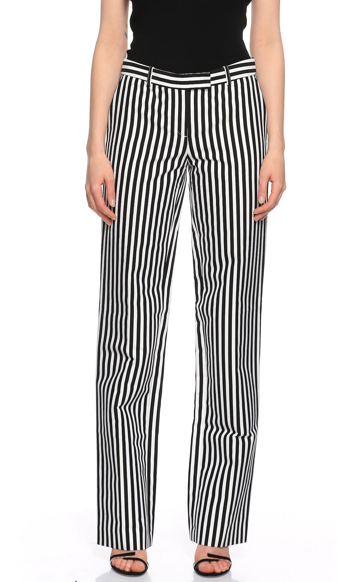 Michael Kors Collection  Çizgili Siyah Beyaz Pantolon