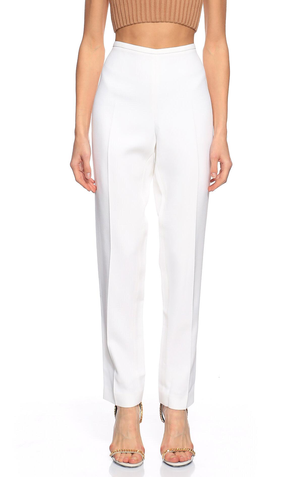 Michael Kors Collection-Michael Kors Collection Yüksek Belli Beyaz Pantolon