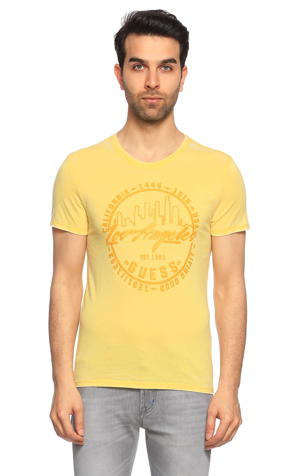 Guess-Guess Baskı Desen Sarı T-Shirt