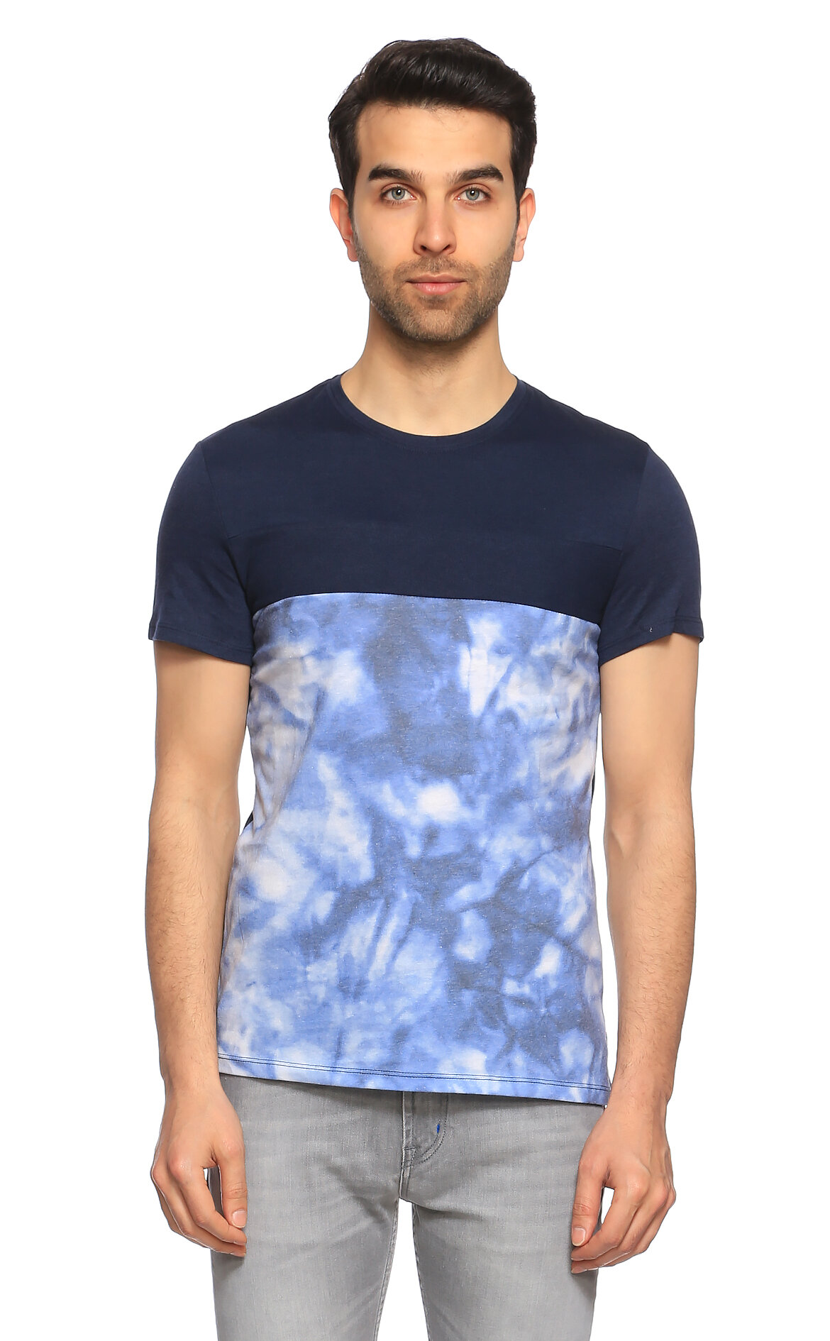 Guess-Guess Baskı Desen Lacivert T-Shirt