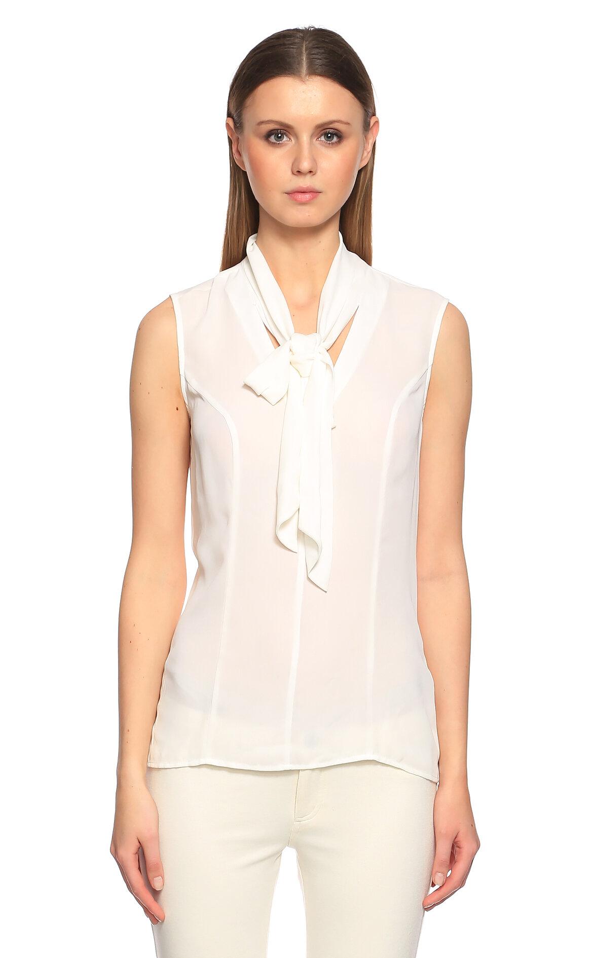 Guess-Guess Fular Yaka Beyaz Bluz
