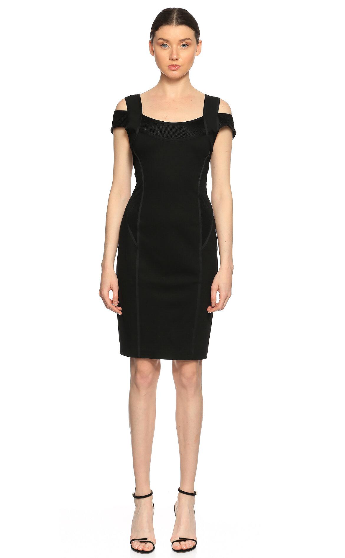 Donna Karan-Donna Karan Dar Kesim Siyah Elbise
