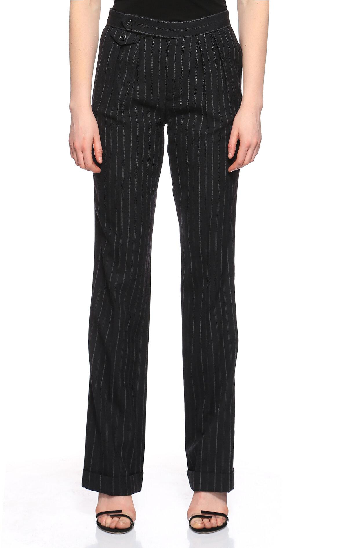 Ralph Lauren Blue Label  Çizgili Geniş Kesim Siyah Pantolon