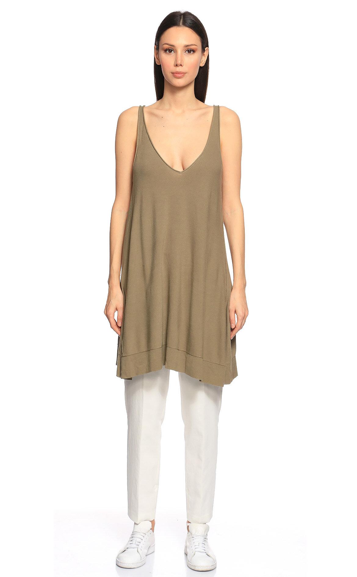 Donna Karan-Donna Karan V Yaka Askılı Yeşil Bluz